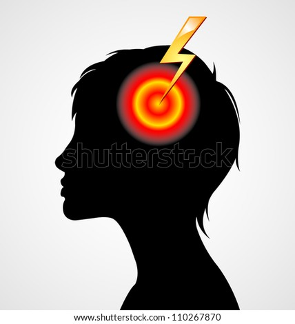 Terrible headache woman silhouette isolated on white background