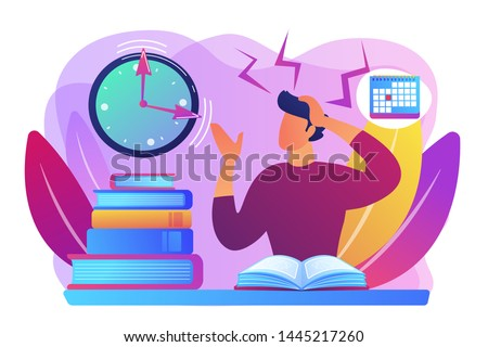 Terrible time crunch, cramming material before tests, examination. Exams and test results, personal exam timetable, exam stress and anxiety concept. Bright vibrant violet vector isolated illustration