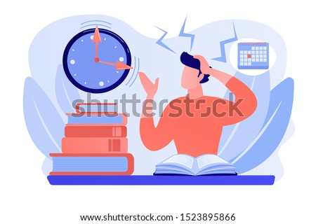 Terrible time crunch, cramming material before tests, examination. Exams and test results, personal exam timetable, exam stress and anxiety concept. Pinkish coral bluevector isolated illustration