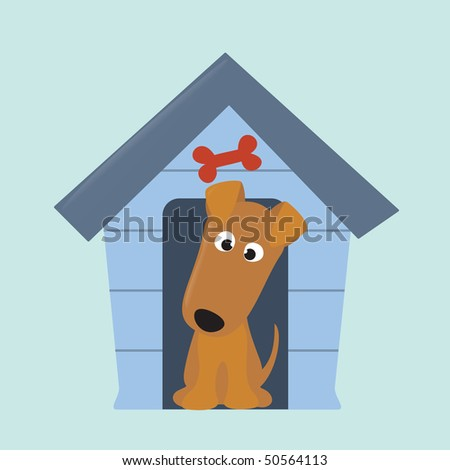 terrier puppy and new dog house