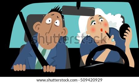 terrified passenger sitting in