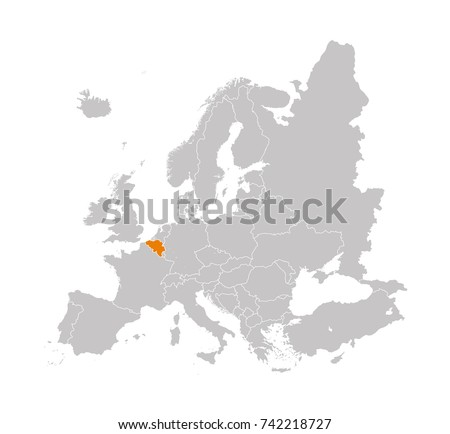 territory of belgium on europe map on a white background