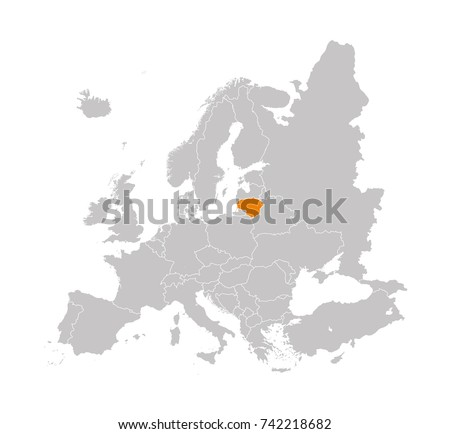 Territory of Lithuania on Europe map on a white background