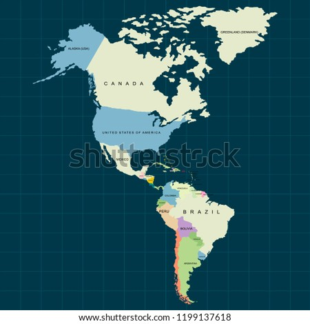 Territory of North America and South America continents, Canada, Alaska and Mexico. Dark background. Vector illustration
