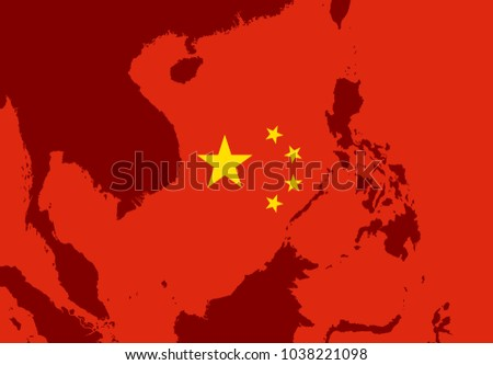 Territory of South China Sea - Chinese flag over maritime area and zone in Asia -  clain and beonging to the nationa, country and state. Vector illustration