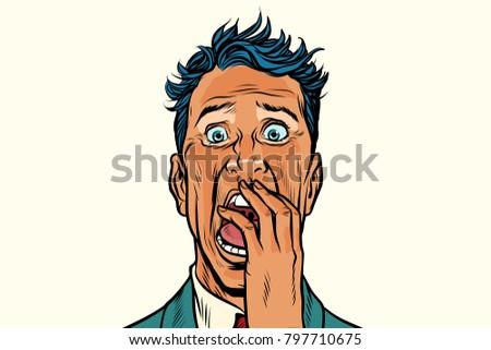 Terror fear nightmare man isolated on white background. Pop art retro vector illustration
