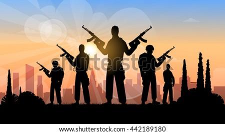 terrorist group over city view