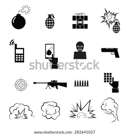 terrorist spy icons set vector