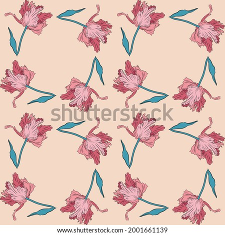 Terry pink pretty tulips. Seamless pattern. Hand drawn vector illustration. Line art. Texture for print, fabric, textile, wallpaper. Stockfoto ©