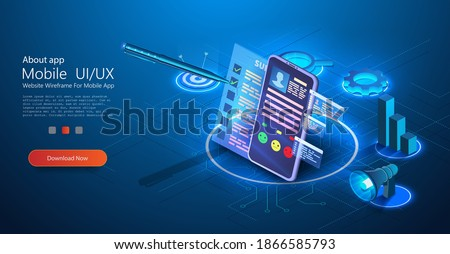 Test customer Survey form. Stylus pen put mark on digital document checklist at tablet screen. Mobile phone with a survey sheet on a blue background Isometric landing page template. Vector Stockfoto ©