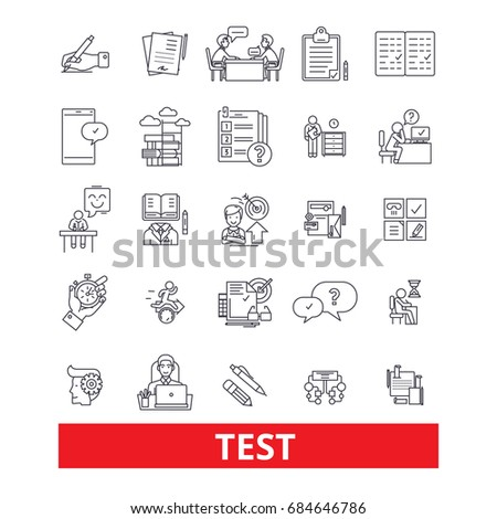 Test, exam,examination, quiz, assessment,evaluation, check line icons. Test outline signs set. Exam and quiz icons with editable strokes. Evaluation pictogram