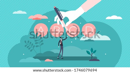 Test prep or exam preparation vector illustration in flat tiny persons concept. Educational course, tutoring service and learning method to improve knowledge score in university, school or college. Stok fotoğraf ©