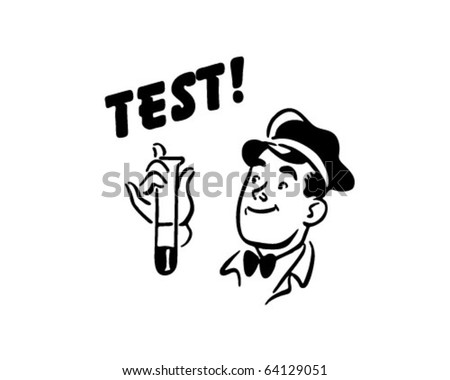 Test! - Service Station Mechanic - Retro Clipart - stock vector