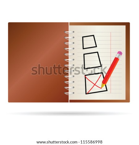 test ticking vector with brown notes - stock vector