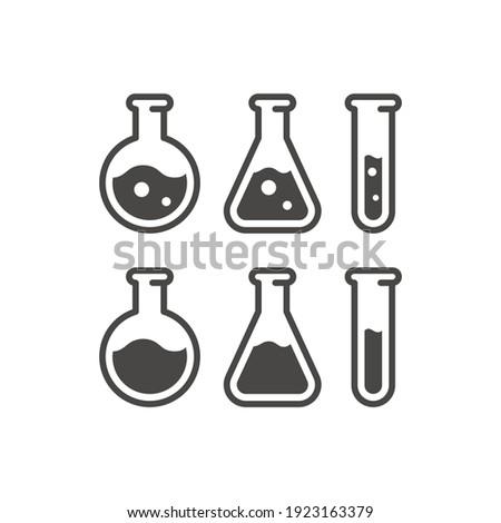 Test tube black vector icon. Chemistry lab flask, science symbol. Foto stock ©