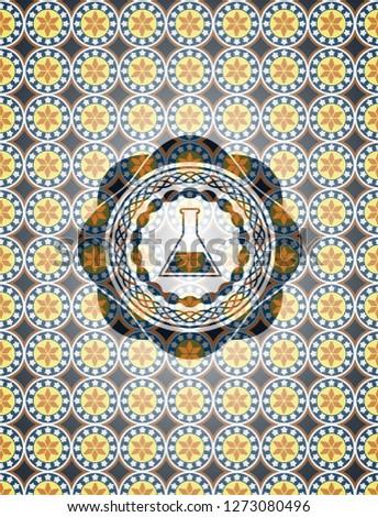 test tube icon inside arabesque emblem background. arabic decoration.
