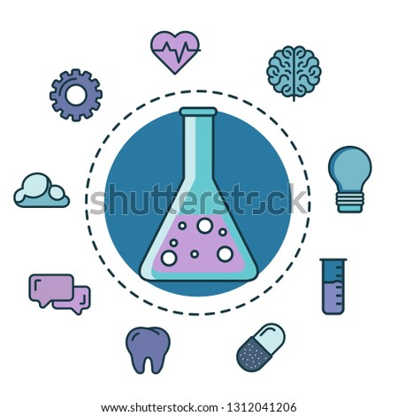 Test tube with innovation icons. Flat vector illustration
