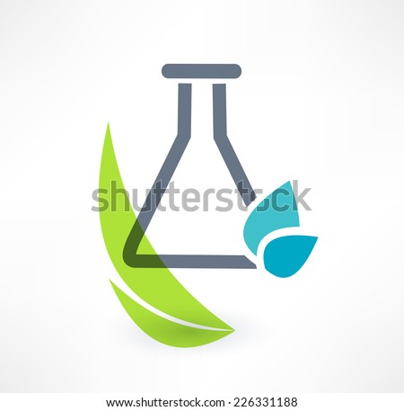 Test tube with leaf icon. The concept of organic chemistry. Logo design.