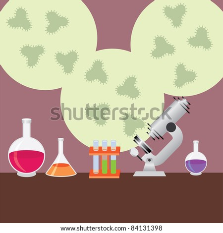 Test tubes, microscope and vials for medical research