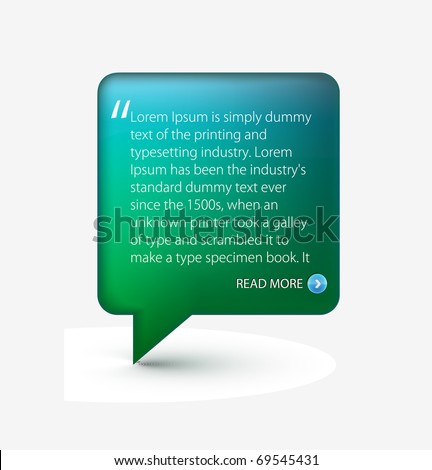 Testimonial glossy speech icon for web template design used.