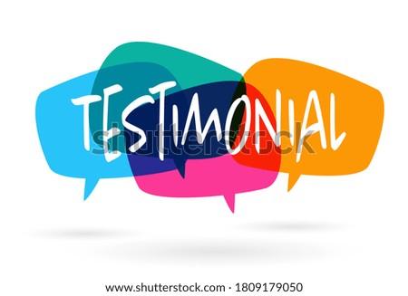 Testimonial on colorful speech bubble Photo stock ©