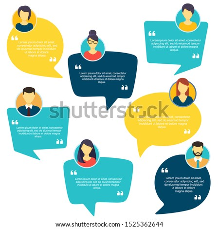 Testimonial Speech bubble concept, customer feedback for info graphic, application and website. Creative testimonials template with different shapes. Vector illustration. Photo stock ©