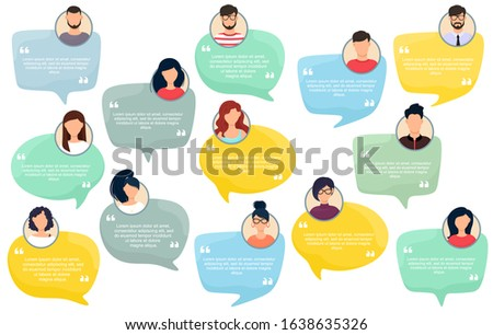 Testimonial Speech bubble concept, customer feedback for info graphic, application for info graphic, application and website. Creative testimonials template with different shapes. Vector illustration. Photo stock ©