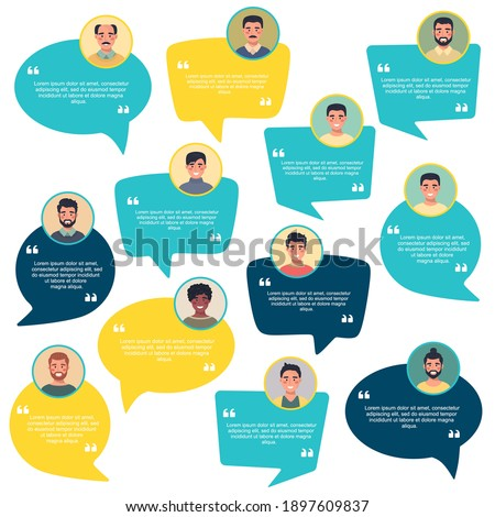 Testimonial Speech bubble concept, male avatar collection, customer testimonials of information graphic, app and website. Creative testimonial template with different forms. Vector illustration. Photo stock ©