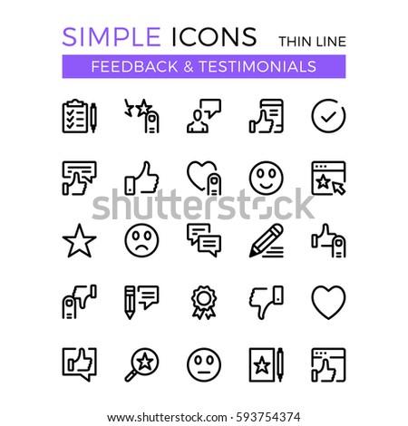 Testimonials, feedback, social network vector thin line icons set. 32x32 px. Flat line graphic design concept for website, web design, mobile app, infographics. Pixel perfect vector outline icons set