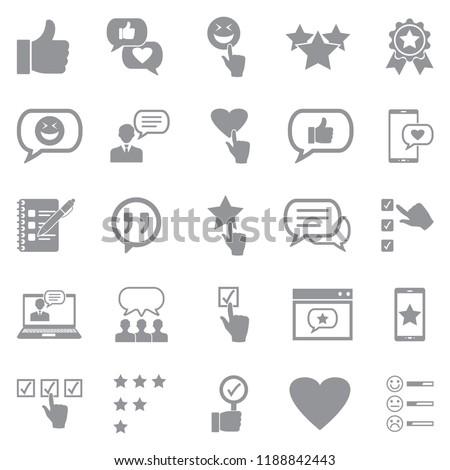 Testimonials Icons. Gray Flat Design. Vector Illustration.  #1188842443