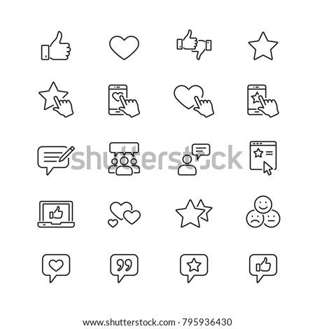 Testimonials related icons: thin vector icon set, black and white kit