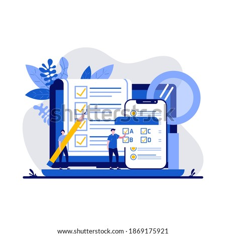 Testing concept with character. People answering quiz checklist and success result abstract vector illustration. Online exam, questionnaire form, online education, survey metaphor. Foto stock ©