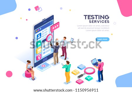 Testing process, coding team on software infographics. UX for smartphone, teamwork on device, content programming for seo. Flat isometric characters and text for designer content place.