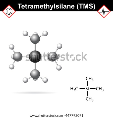 Tetramethylsilane - TMS structure, internal standard for proton magnetic resonance analysis, 2d and 3d illustration, vector, eps 8