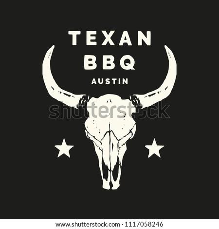 Texan BBQ Austin Longhorn Food and Drink Illustration Logo Vector
