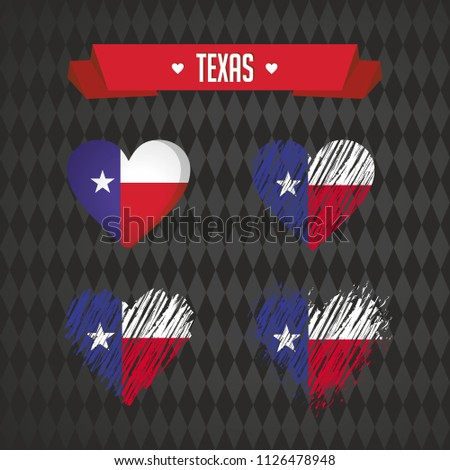 Texas Collection of four vector hearts with flag. Heart silhouette
