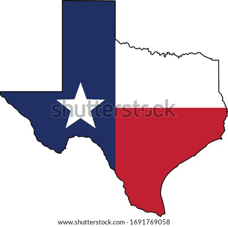 Texas Flag in the Texas state shape ストックフォト ©