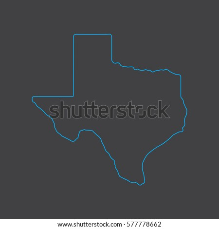 Texas map blue outline stroke line style
