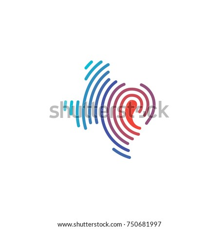 Texas Map with Loop Hearing Device Logo Vector