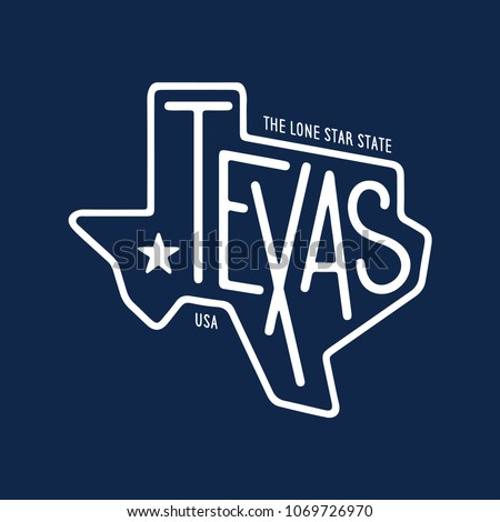 Texas related t-shirt design. The lone star state. Monochrome concept on blue background. Vintage vector illustration.