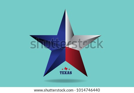texas star with map vector eps 10.