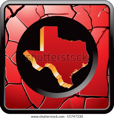 texas state on red cracked web icon