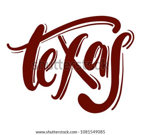 texas typography hand drawn