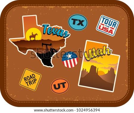 texas  utah travel stickers