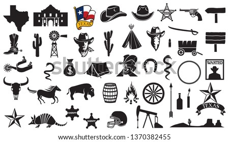 texas vector icons set  flag