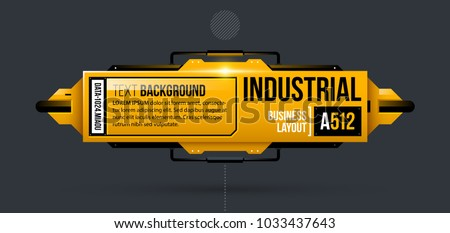 Text background template in yellow industrial techno style on dark gray background