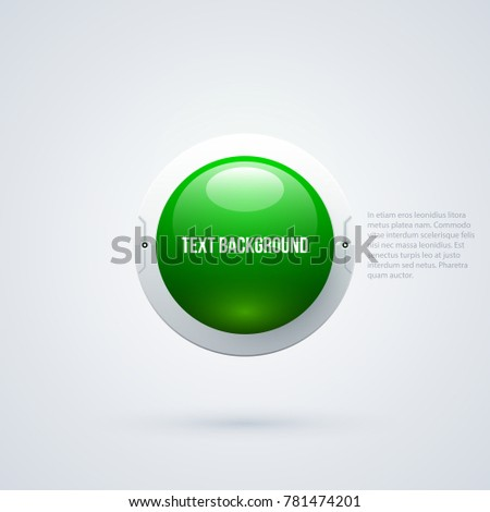 Text background with green 3d sphere in hi-tech style on white background