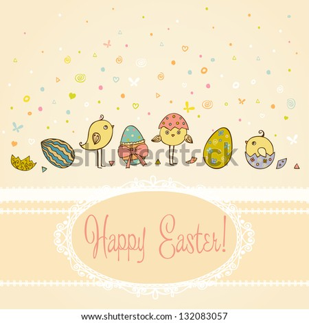 Text background with hand drawn cute illustration for Easter greeting with colorful ornamental eggs and little chicken and place for your text. Template for design and scrapbooking