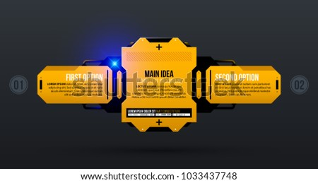 Text background with two options in yellow industrial techno style on dark gray background