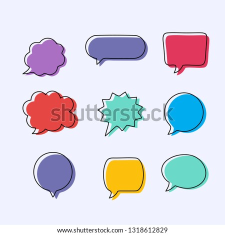 Text balloons with different shapes. Text bubble with full color design.